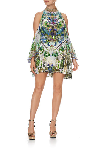 NECK TIE SHORT DRESS MOON GARDEN