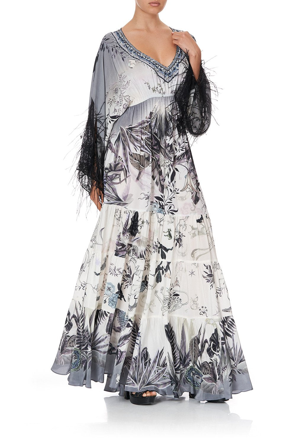 PANEL DRESS WITH LACE SLEEVE MOONLIT MUSINGS