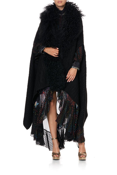 SHEARLING CAPE MIDNIGHT MOON HOUSE