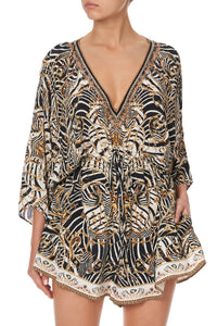 V-NECK ROMPER WITH SQUARE SLEEVE NIGHT WAITING FOR DAY