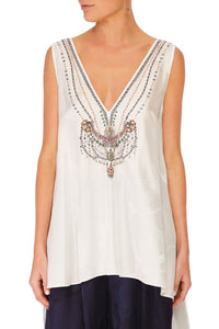 V-NECK TOP WITH SPLIT BACK SOLID WHITE