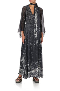 WRAP DRESS WITH NECK TIE MIDNIGHT PEARL
