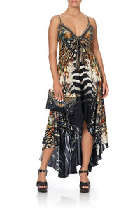 TIE DETAIL HIGH LOW DRESS LOST PARADISE