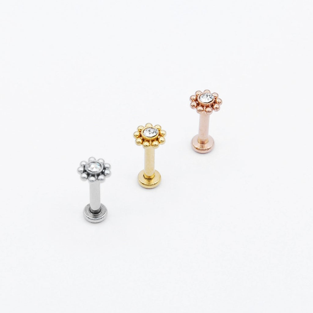 ARTIQO 'Surrounded Gem' Piercingstecker - helloartiqo.com