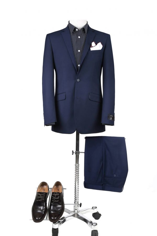 BUILD YOUR PACKAGE: French Blue Slim Fit Suit (Package Includes 2 Pc Suit, Shirt, Necktie or Bow Tie, Matching Pocket Square, & Shoes)