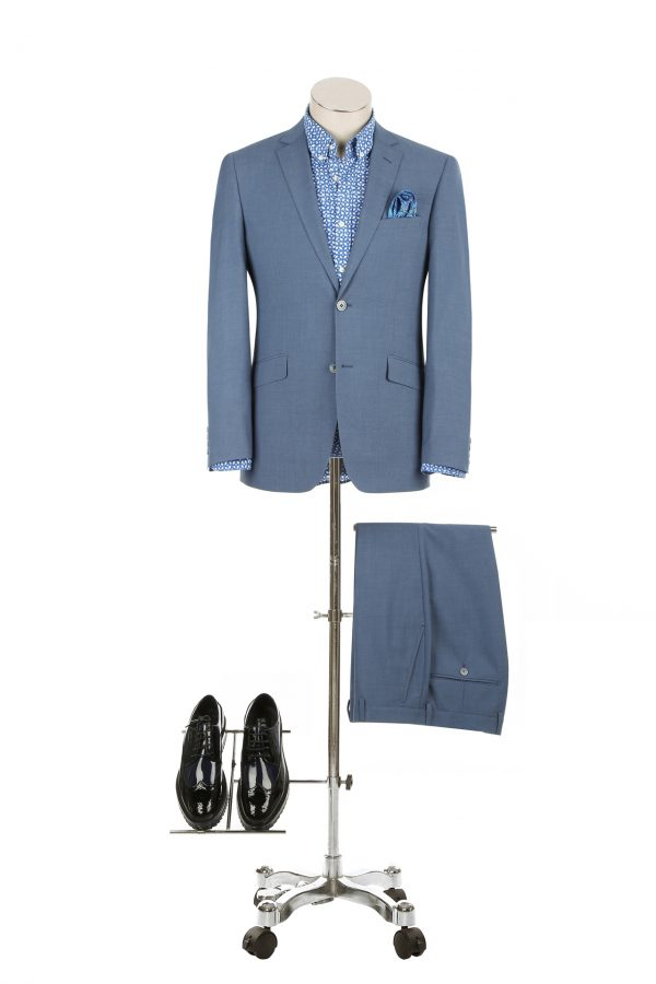 BUILD YOUR PACKAGE: Light Blue Slim Fit Suit (Package Includes 2 Pc Suit, Shirt, Necktie or Bow Tie, Matching Pocket Square, & Shoes)