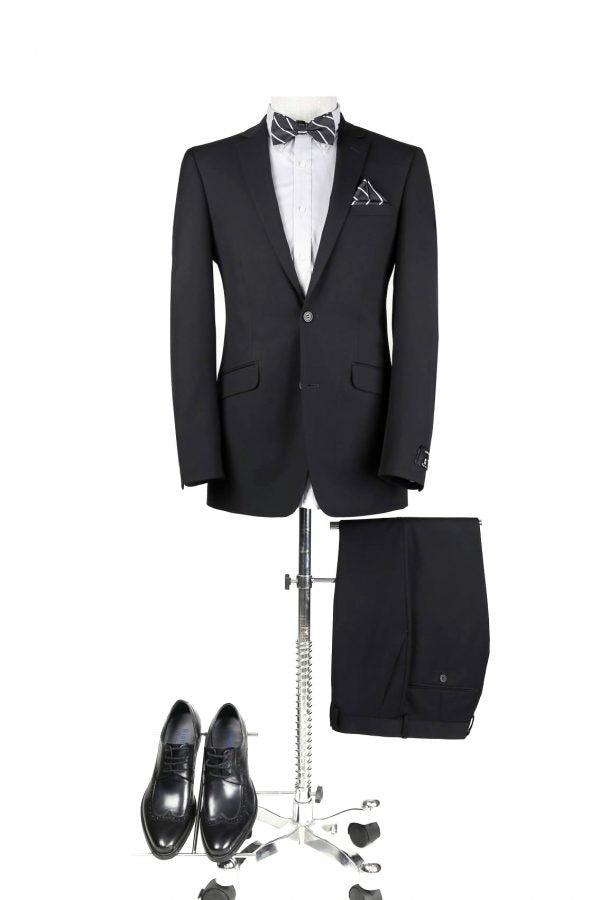 BUILD YOUR PACKAGE: Black Suit (Package Includes 2 Pc Suit, Shirt, Necktie or Bow Tie, & Matching Pocket Square)