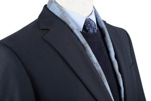 BUILD YOUR PACKAGE: Navy Slim Fit Suit (Package Includes 2 Pc Suit, Shirt, Necktie or Bow Tie, Matching Pocket Square, & Shoes)