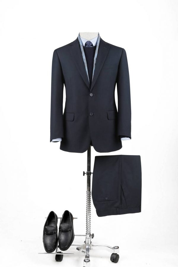 BUILD YOUR PACKAGE: Navy Slim Fit Suit (Package Includes 2 Pc Suit, Shirt, Necktie or Bow Tie & Matching Pocket Square)