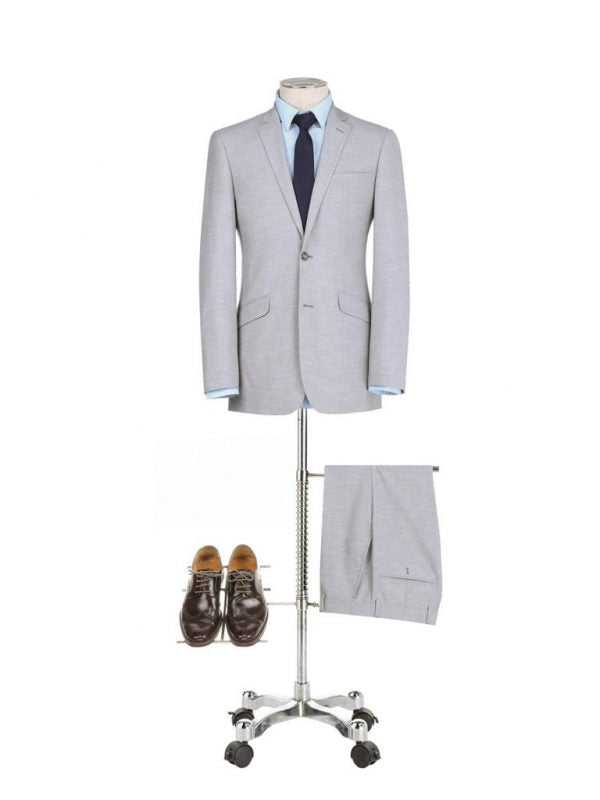 BUILD YOUR PACKAGE: Light Grey Slim Fit Suit (Package Includes 2 Pc Suit, Shirt, Necktie or Bow Tie, Matching Pocket Square, & Shoes)