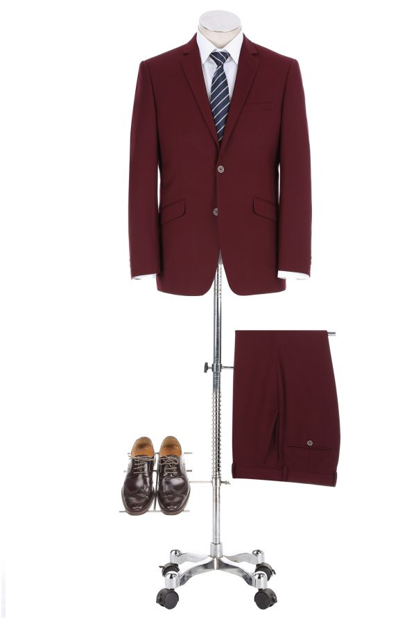 BUILD YOUR PACKAGE: Burgundy Slim Fit Suit (Package Includes 2 Pc Suit, Shirt, Necktie or Bow Tie, Matching Pocket Square, & Shoes)