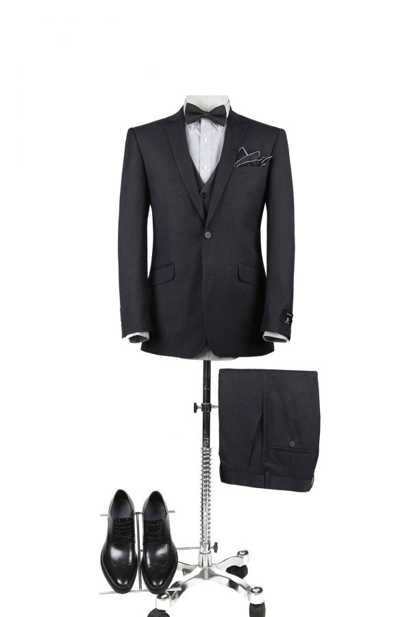 BUILD YOUR PACKAGE: Charcoal Slim Fit Suit (Package Includes 2 Pc Suit, Shirt, Necktie or Bow Tie, Matching Pocket Square, & Shoes)