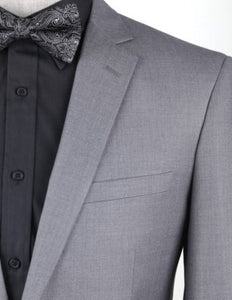 Premium Solid Grey 4 Pc Suit Package: BUILD YOUR PACKAGE (Includes 2 Pc Suit, Shirt, Necktie or Bow)