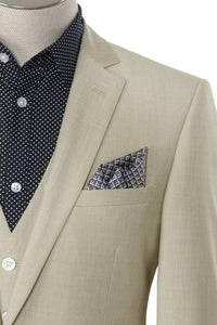 BUILD YOUR PACKAGE: Light Tan Slim Fit Suit (Package Includes 2 Pc Suit, Shirt, Necktie or Bow Tie, Matching Pocket Square, & Shoes)