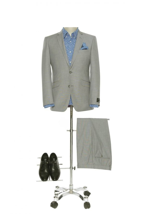 BUILD YOUR PACKAGE: Grey Slim Fit Suit (Package Includes 2 Pc Suit, Shirt, Necktie or Bow Tie, Matching Pocket Square, & Shoes)