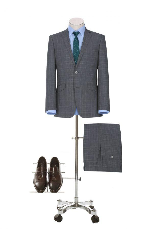Medium Grey and Burgundy Check Slim Fit Suit