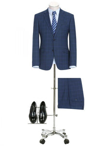 French Blue Check Slim Fit Suit