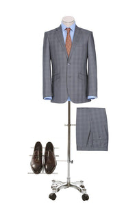 Silver Check Slim Fit Suit