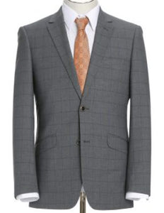 Grey Check Pattern Slim Fit 2 Pc Suit