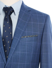 Load image into Gallery viewer, Blue Check Pattern Slim Fit 2 Pc Suit