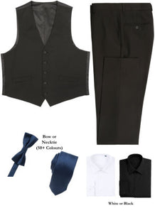 BUILD YOUR PACKAGE MIX & MATCH: Black Vested Look (Package Includes Vest, Pant, Shirt, and Necktie or Bow Tie)