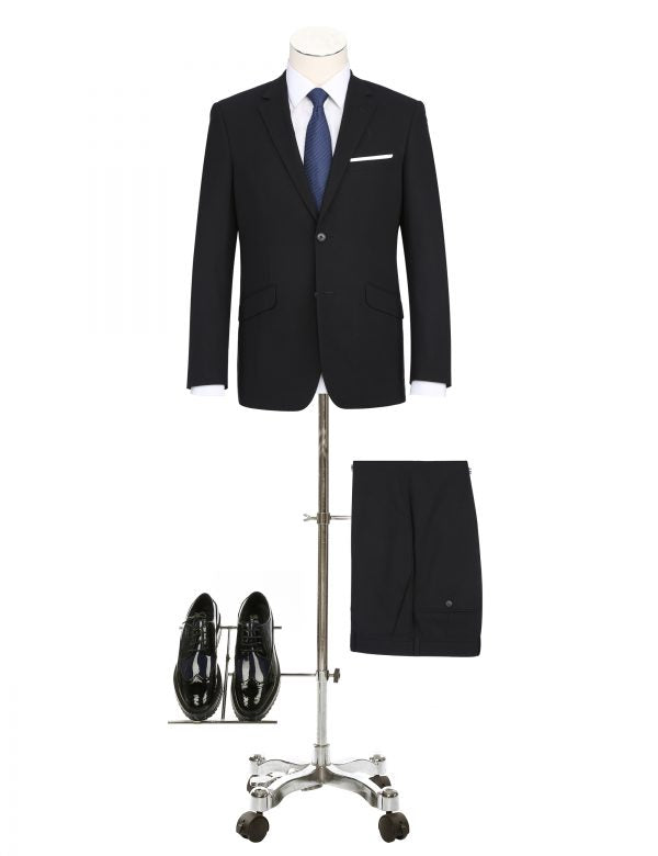 BUILD YOUR PACKAGE: Black Stretch Trim Fit Suit (Package Includes 2 Pc Suit, Shirt, Necktie or Bow Tie, Matching Pocket Square, & Shoes)