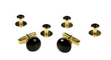 Load image into Gallery viewer, Basic Black with Gold Trim Studs and Cufflinks Set