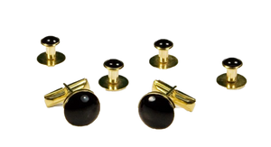 Basic Black with Gold Trim Studs and Cufflinks Set