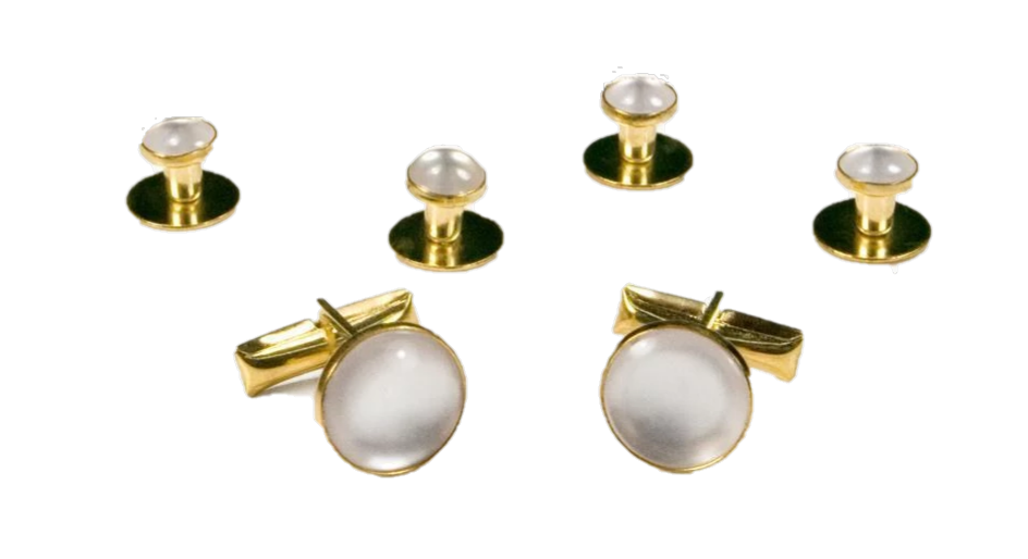 Basic White with Gold Trim Studs and Cufflinks Set