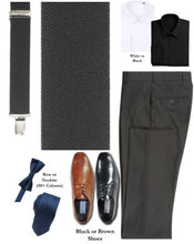 Load image into Gallery viewer, BUILD YOUR PACKAGE MIX & MATCH: Charcoal Suspender Look (Package Includes Suspender, Pant, Shirt, Necktie or Bow Tie & Shoes)