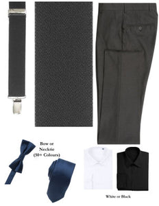BUILD YOUR PACKAGE MIX & MATCH: Charcoal Suspender Look (Package Includes Suspender, Pant, Shirt, and Necktie or Bow Tie)