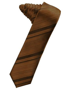 Guava Striped Satin Skinny Necktie