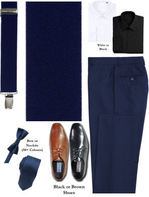 BUILD YOUR PACKAGE MIX & MATCH: French Blue Suspender Look (Package Includes Suspender, Pant, Shirt, Necktie or Bow Tie & Shoes)