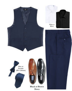 BUILD YOUR PACKAGE MIX & MATCH: French Blue Vested Look (Package Includes Vest, Pant, Shirt, Necktie or Bow Tie & Shoes)