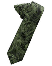 Load image into Gallery viewer, Golden Tapestry Satin Skinny Necktie