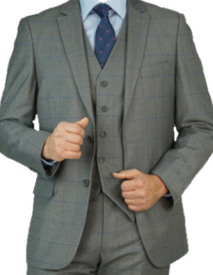 Grey Blue Windowpane Suit