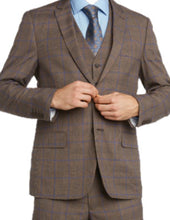 Load image into Gallery viewer, Brown Windowpane Suit