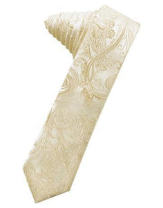 Golden Tapestry Satin Skinny Necktie