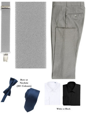 BUILD YOUR PACKAGE MIX & MATCH: Light Grey Suspender Look (Package Includes Suspender, Pant, Shirt, and Necktie or Bow Tie)