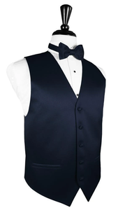 Midnight Blue Luxury Satin Tuxedo Vest