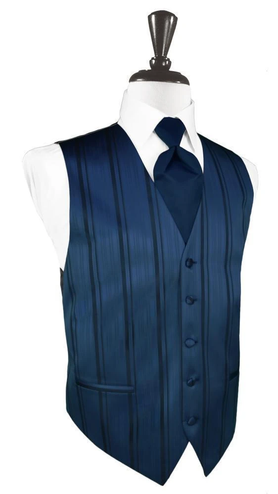 Peacock Striped Satin Tuxedo Vest