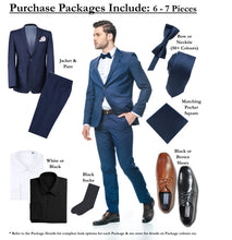 Load image into Gallery viewer, BUILD YOUR PACKAGE: Black Stretch Trim Fit Suit (Package Includes 2 Pc Suit, Shirt, Necktie or Bow Tie, Matching Pocket Square, & Shoes)