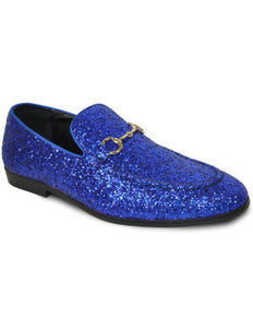 Men's Blue Glitter Dress Shoe for Prom & Wedding