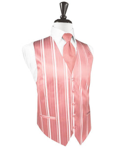 Coral Reef Striped Satin Tuxedo Vest