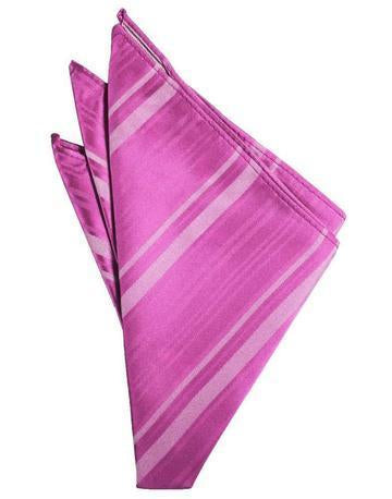 Fuschia Striped Satin Pocket Square
