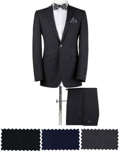 BUILD YOUR PACKAGE: Black, Grey or Blue Suit (Package Includes 2 Pc Suit, Shirt, Necktie or Bow Tie)