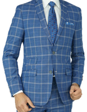 Blue Windowpane Tailored Fit Suit