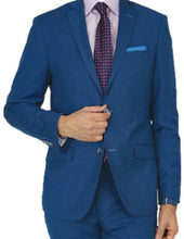 Load image into Gallery viewer, Royal Blue Windowpane Tailored Fit Suit