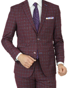 Burgundy Blue Plaid Tailored Fit Suit