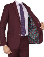 Load image into Gallery viewer, Burgundy Tailored Fit Suit
